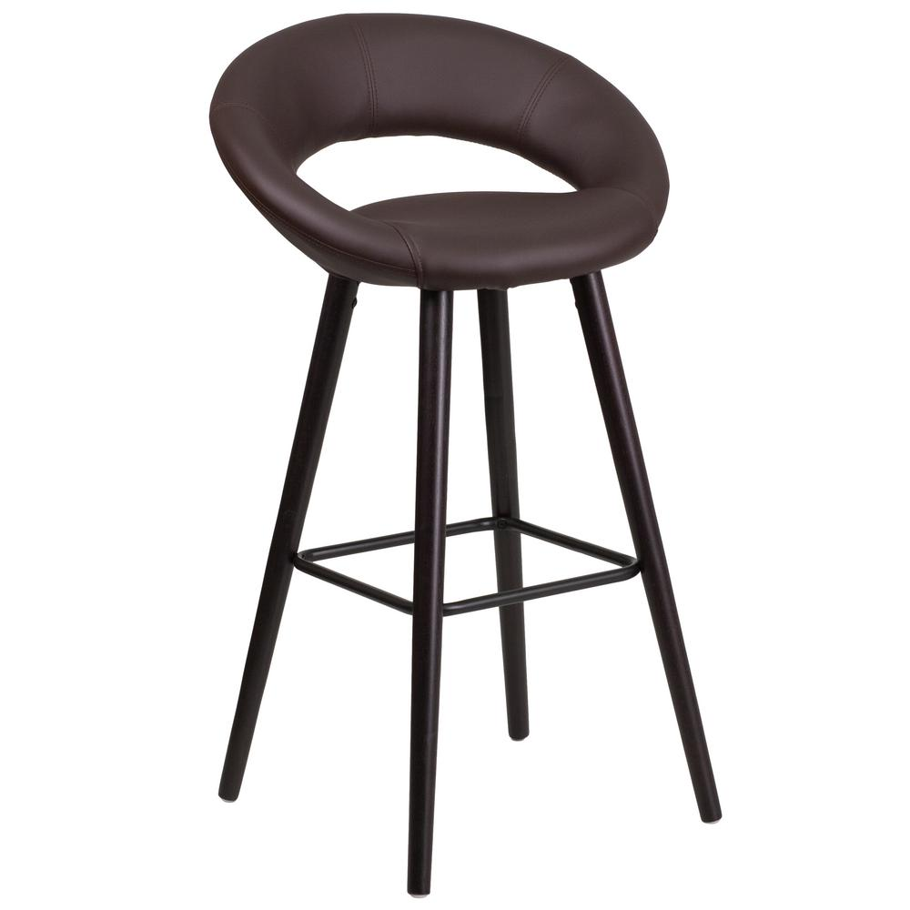 30 in. Brown and Cappuccino Cushioned Bar Stool
