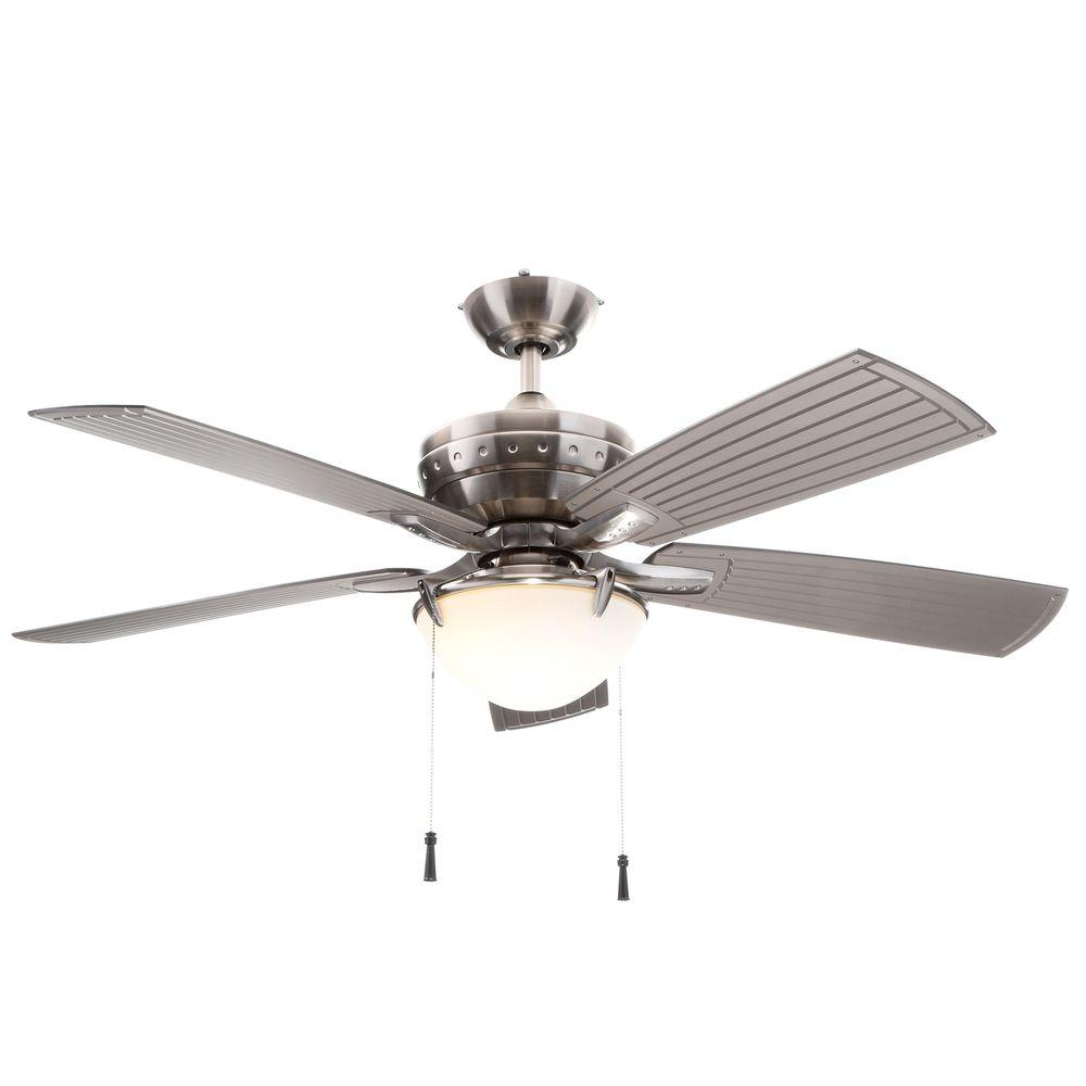 Hampton Bay Four Winds 54 In Indoor Outdoor Brushed Nickel Ceiling Fan With Light Kit Ac457 Bn