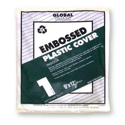 9 ft. x 12 ft. 1 ml Embossed Plastic Drop Cloth (24-Pack)