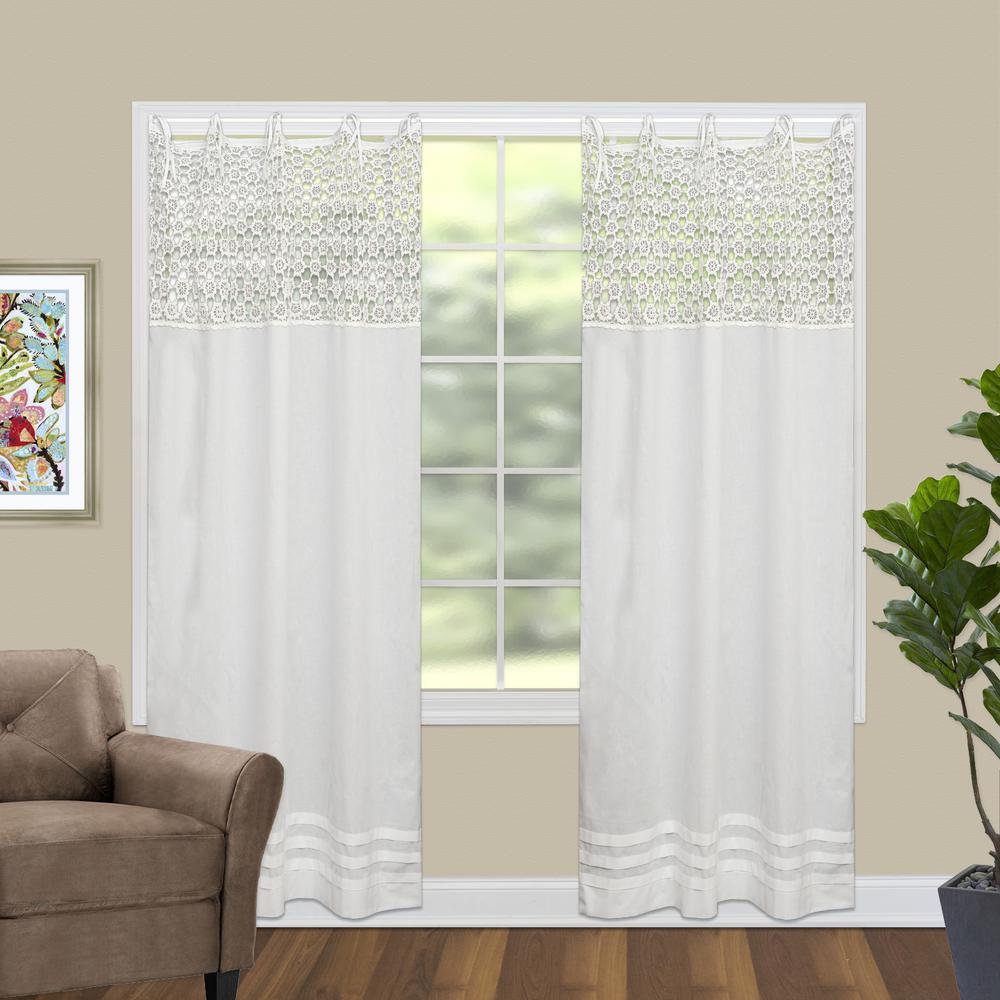 Crochet Envy 45 in. W x 63 in. L Curtain Panel in White