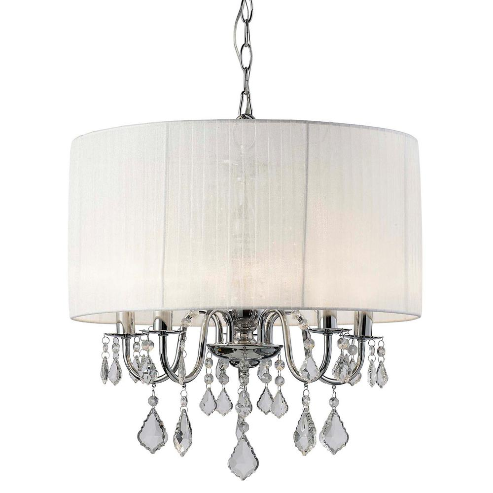 Canarm Summerside 5 Light Chrome Chandelier Ich282b05ch25 The Home Ceiling Fan Wiring Diagram Sarah With Organza Shade And Crystal