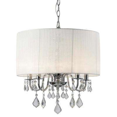 Sarah 5-Light Chrome Chandelier with Organza Shade and Crystal