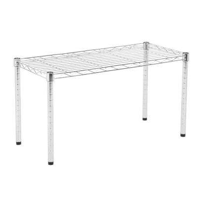 14 in L x 30 in W x 16 in H Commercial Wire Table in Chrome