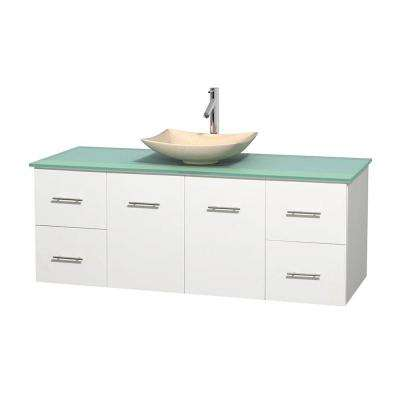Centra 60 in. Vanity in White with Glass Vanity Top in Green and Sink
