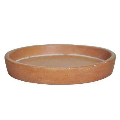 6.75 in. D White Washed Terra Cotta Composite Saucer