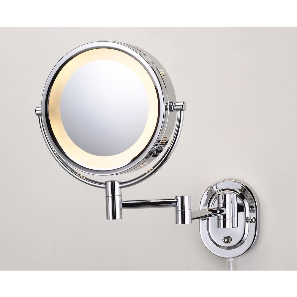 Jerdon 10 in. x 14 in. Lighted Wall Mirror in Chrome (Grey)