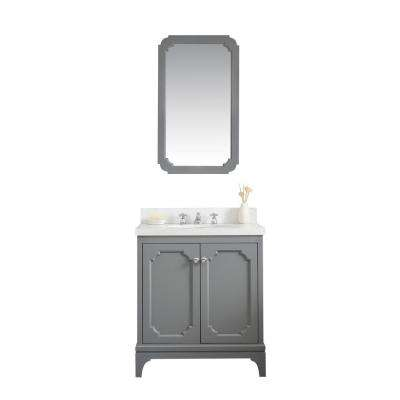 Queen 30 in. Bath Vanity in Cashmere Grey with Quartz Carrara Vanity Top with Ceramics White Basins and Mirror