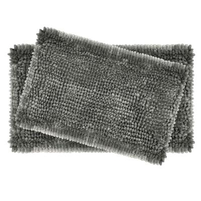 Butter Chenille 20 in. x 34 in. and 17 in. x 24 in. 2-Piece Bath Mat Set in Charcoal