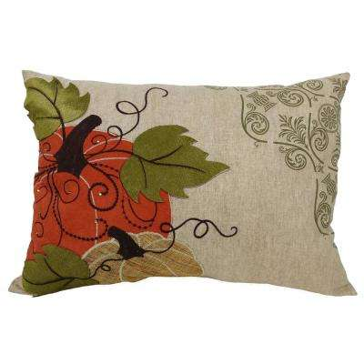 13 in. x 18 in. Pumpkin Embroidered Polyester with Suede Accents Collection Pillow with Polyester Filled