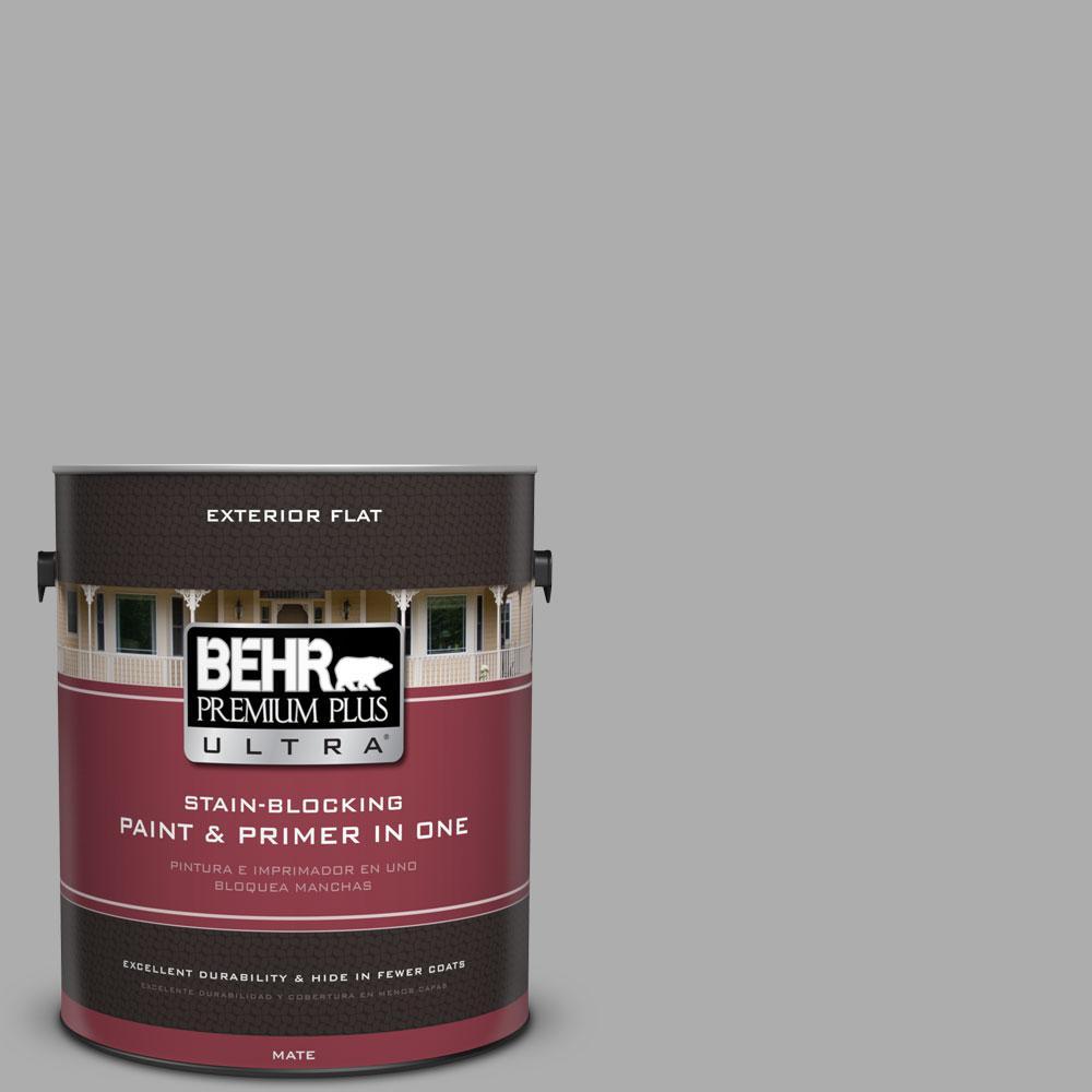 BEHR Premium Plus Ultra 1-gal. #N520-3 Flannel Gray Flat Exterior Paint