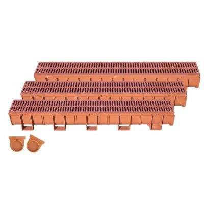 Easy Drain Series 5.4 in. W x 5.4 in. D x 39.4 in. L Trench and Channel Drain Kit in Terracotta (3-Pack)