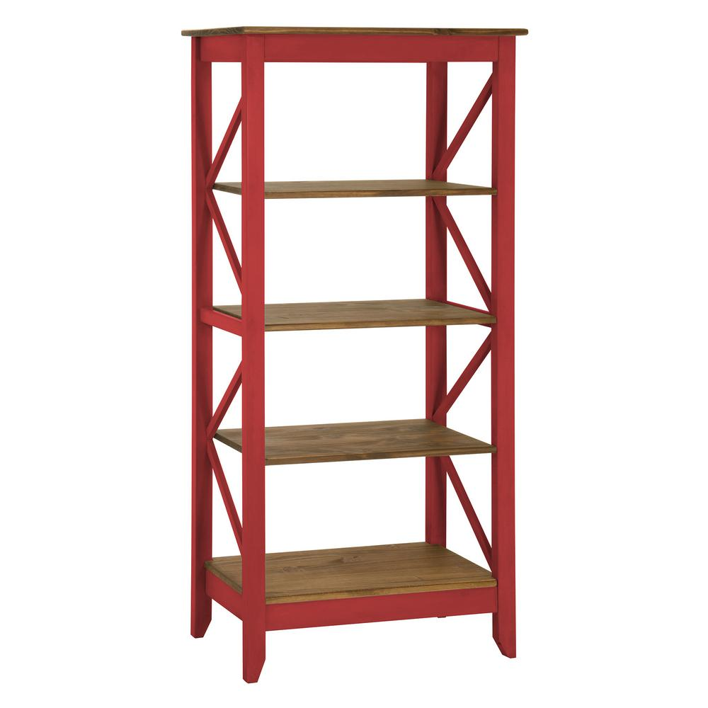 Manhattan Comfort Jay 31.5 In. Red Wash Solid Wood Bookcase With 4 Shelves