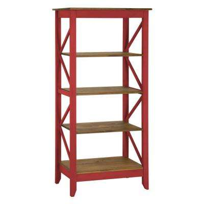 Jay 31.5 in. Red Wash Solid Wood Bookcase with 4-Shelves