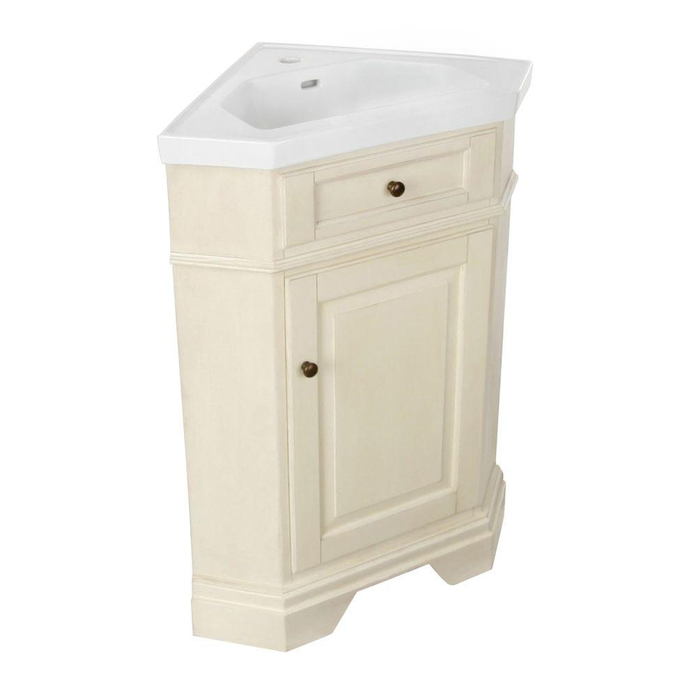 Hembry Creek Richmond 26 in. Corner Vanity in Parchment with Vitreous China Vanity Top in White with Integral Basin