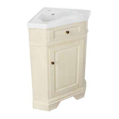 Richmond 26 in. Corner Vanity in Parchment with Vitreous China Vanity Top in White with Integral Basin