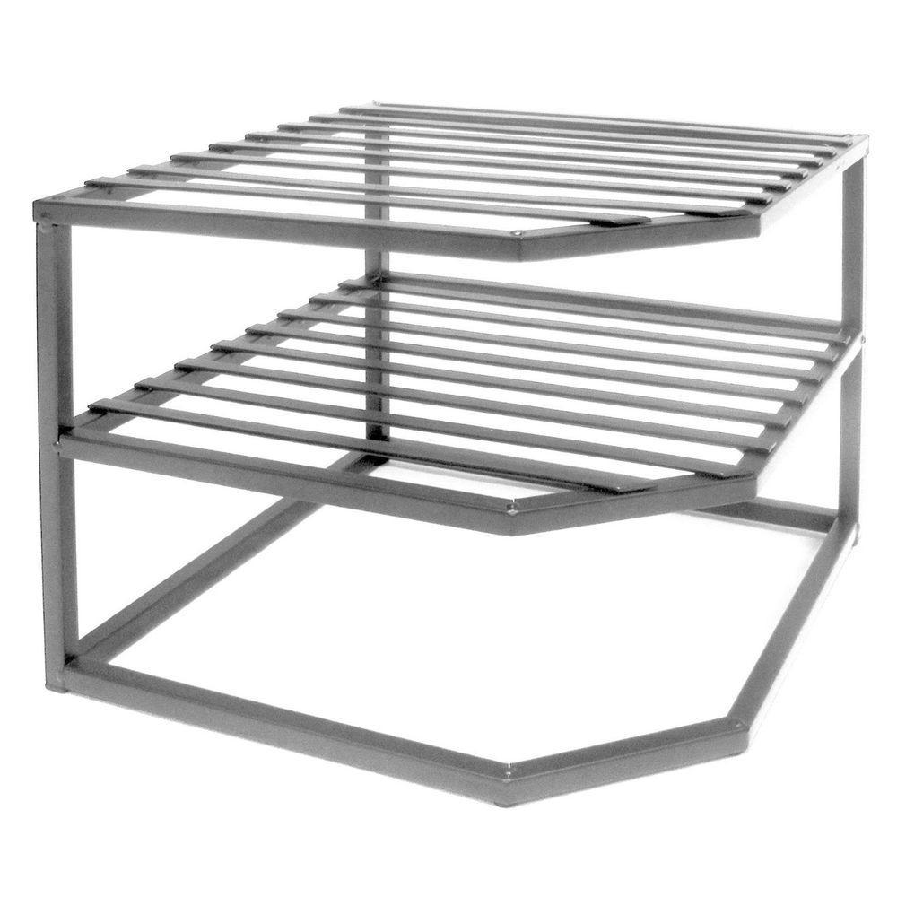 seville classics 2-shelf iron corner kitchen cabinet organizer