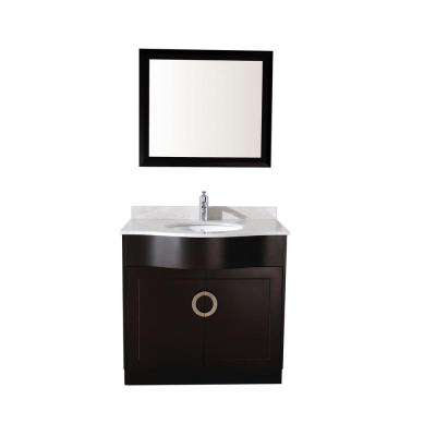 Zoe 36 in. Vanity in Espresso with Marble Vanity Top in Carrara White and Mirror