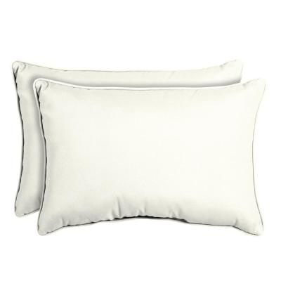 Sunbrella Canvas White Oversized Lumbar Outdoor Throw Pillow (2-Pack)