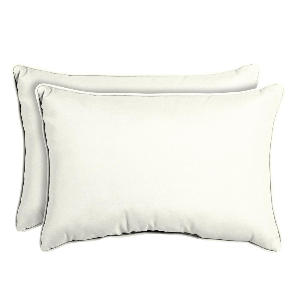 Sunbrella Canvas White Oversized Lumbar Outdoor Throw Pillow (2-Pack)