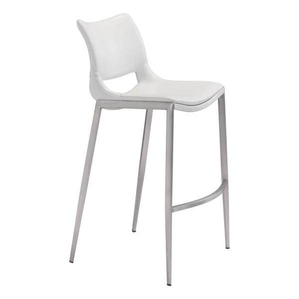 Ace 40.9 in. White Bar Chair (Set of 2)
