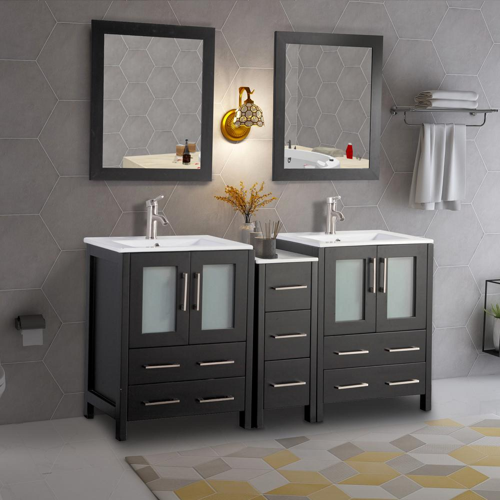 Vanity Art Brescia 60 in. W x 18 in. D x 36 in. H Bath Vanity in Espresso with Vanity Top in White with White Basin and Mirror