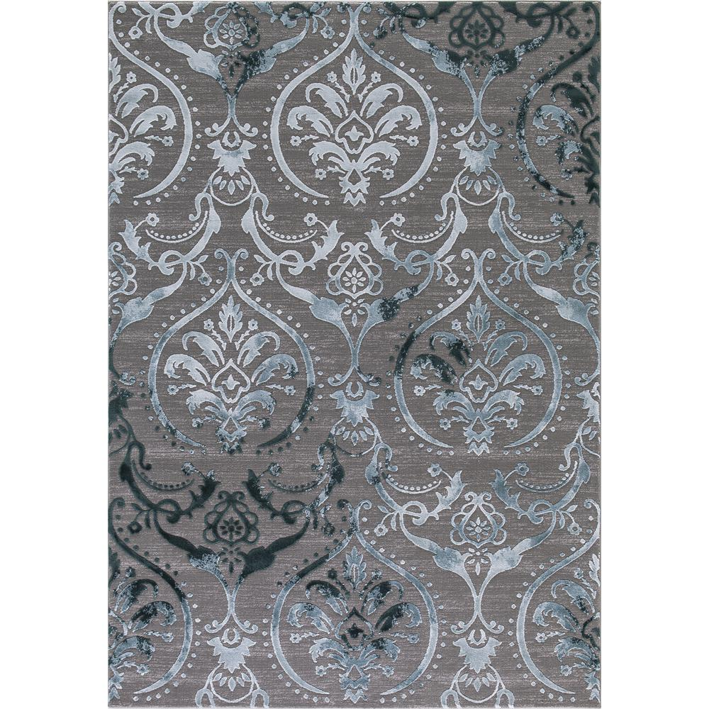 Damask Flatweave Rug: Concord Global Trading Thema Large Damask Teal 3 Ft. X 5