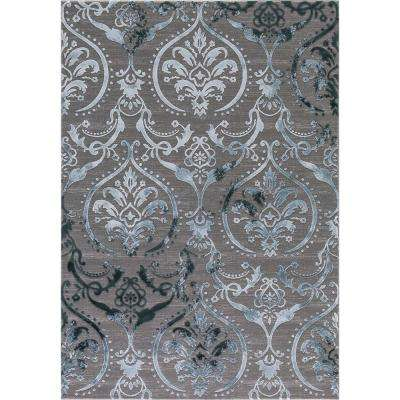 Thema Large Damask Teal 5 ft. x 7 ft. Area Rug