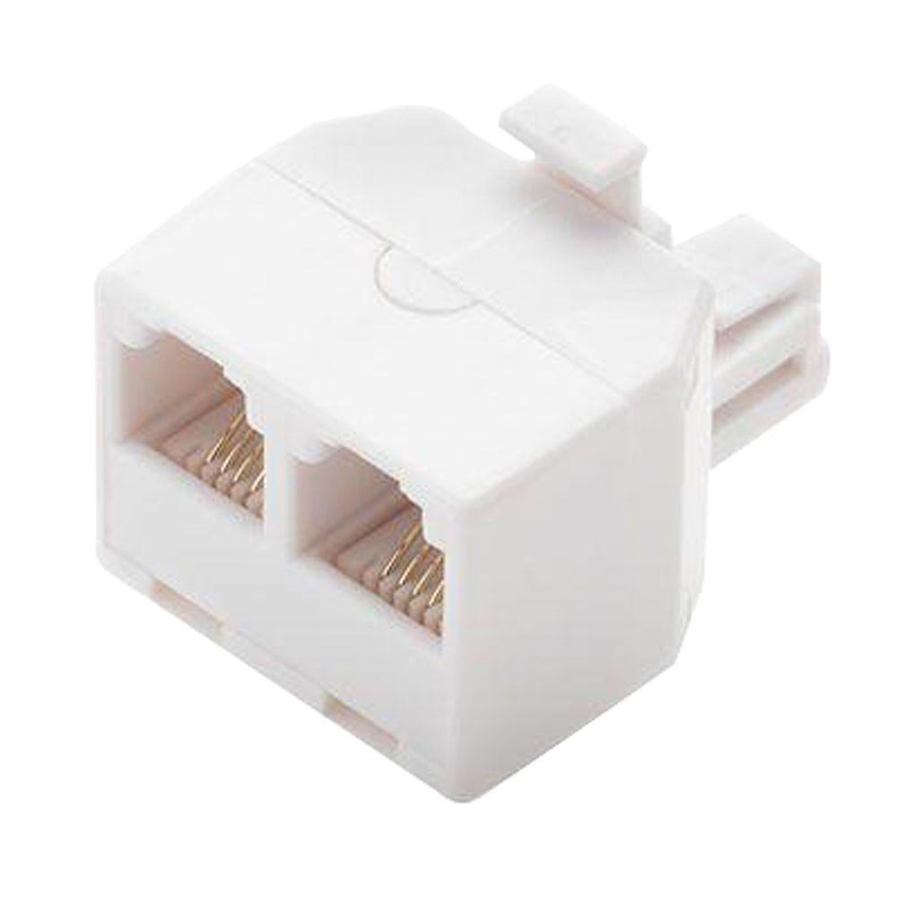 2-Way Telephone Splitter, White