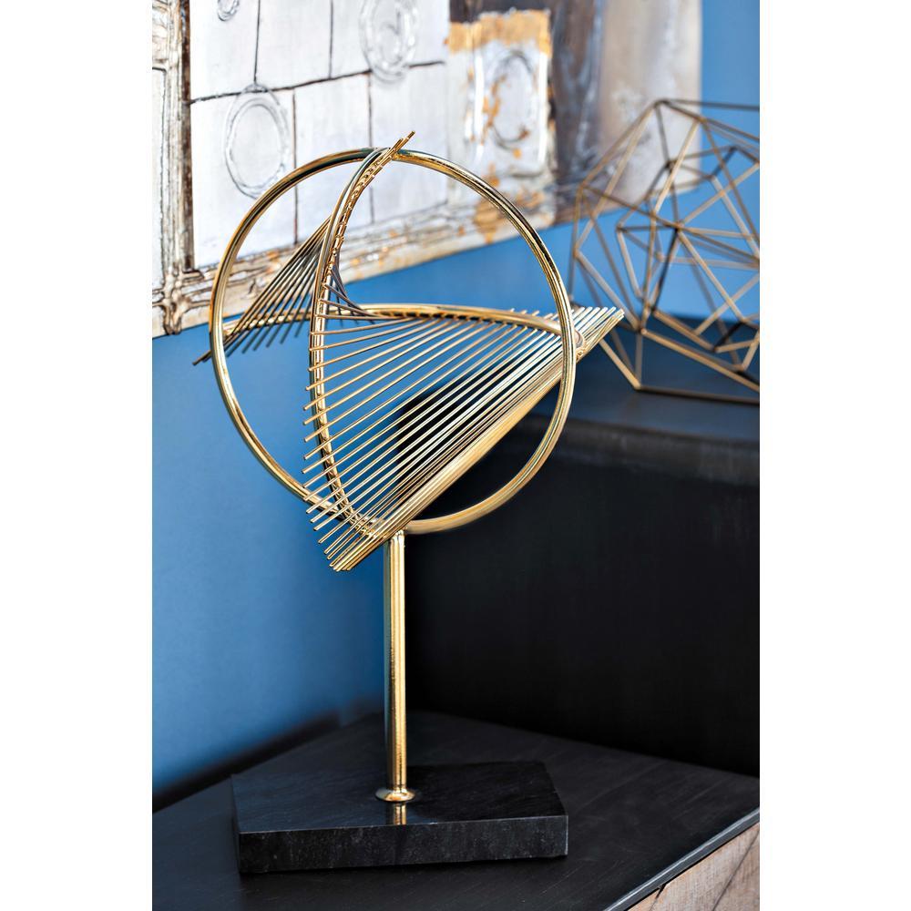 Litton Lane 17 in. Modern DNA Model Decorative Sculpture in Gold ...