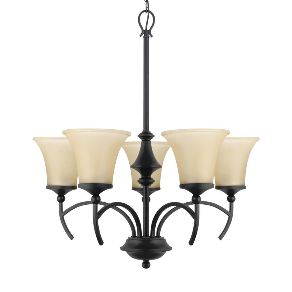 Bridgette 5-Light Iron Black Chandelier with Amber Glass Shades