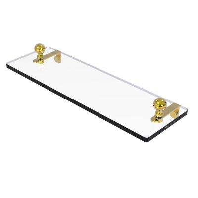 Mambo 16 in. Glass Vanity Shelf with Beveled Edges in Unlacquered Brass