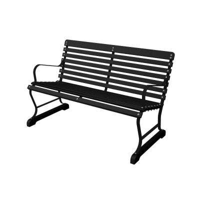 48 in. Black and Black Patio Bench