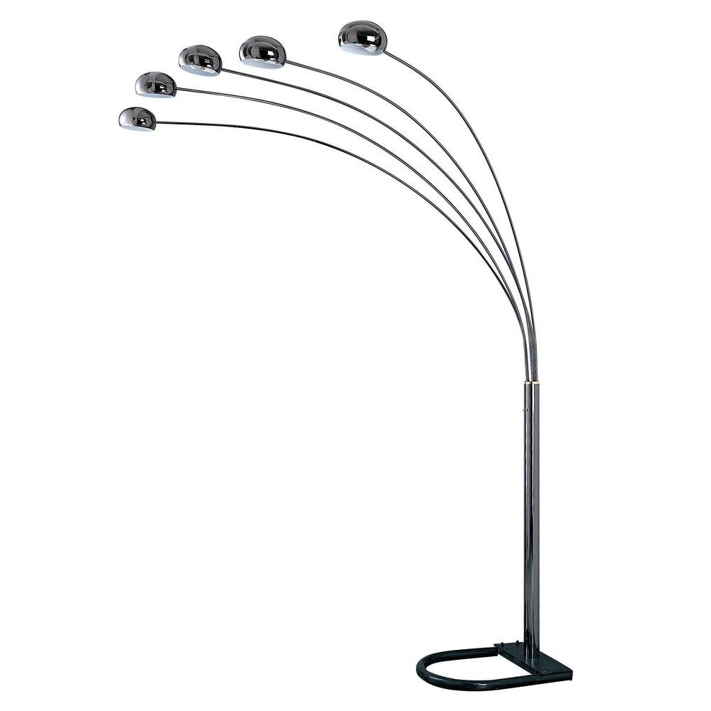 OK LIGHTING 88 in. Chrome Finish with Black Base 5-Arch Floor Lamp ...