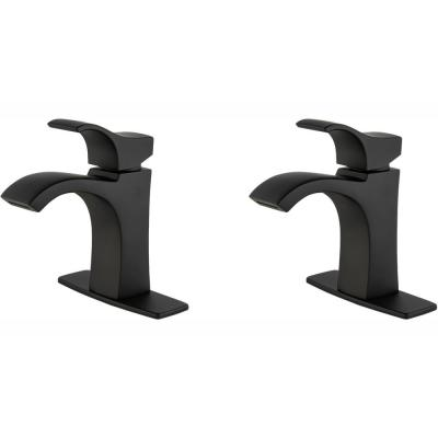 Venturi Single Hole Single-Handle Bathroom Faucet in Matte Black (2-Pack Combo)