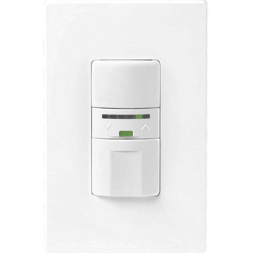 Motion-Activated Vacancy Dimmer Wall Switch with Color Change Kit, White/Light