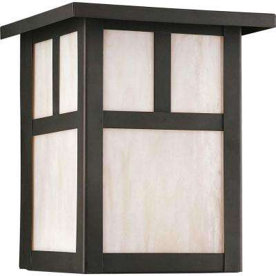 1-Light Outdoor Royal Bronze Wall Lantern with Honey Glass