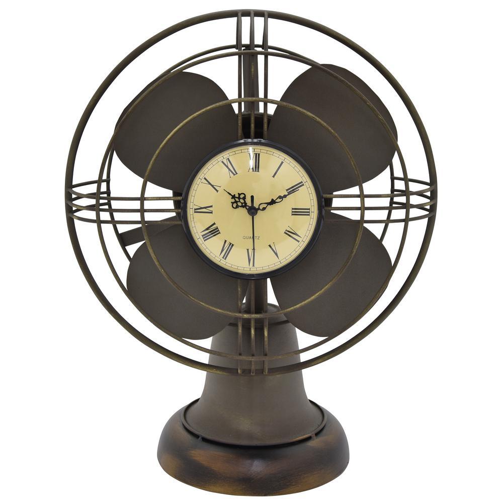20 in. Metal Clock in Brown