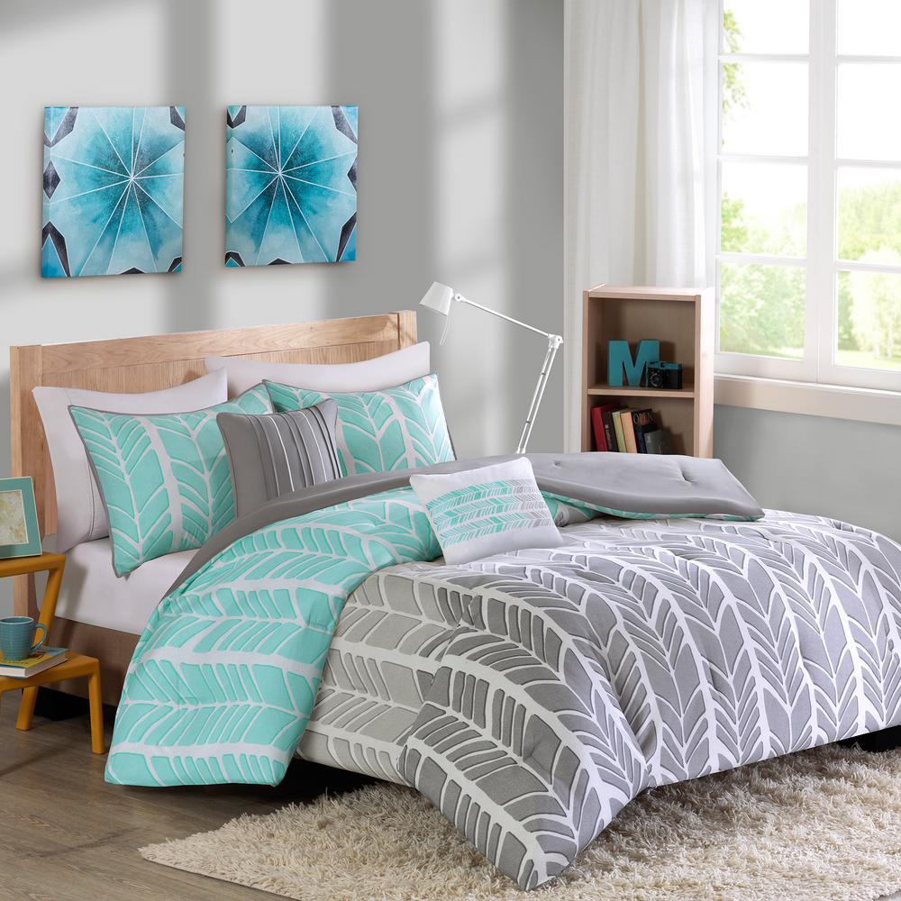 Kennedy 5-Piece Aqua Full/Queen Geometric Comforter Set