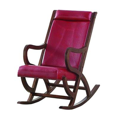 Brown Wooden Outdoor/Indoor Rocking Chair with Red Cushion Looped Arms