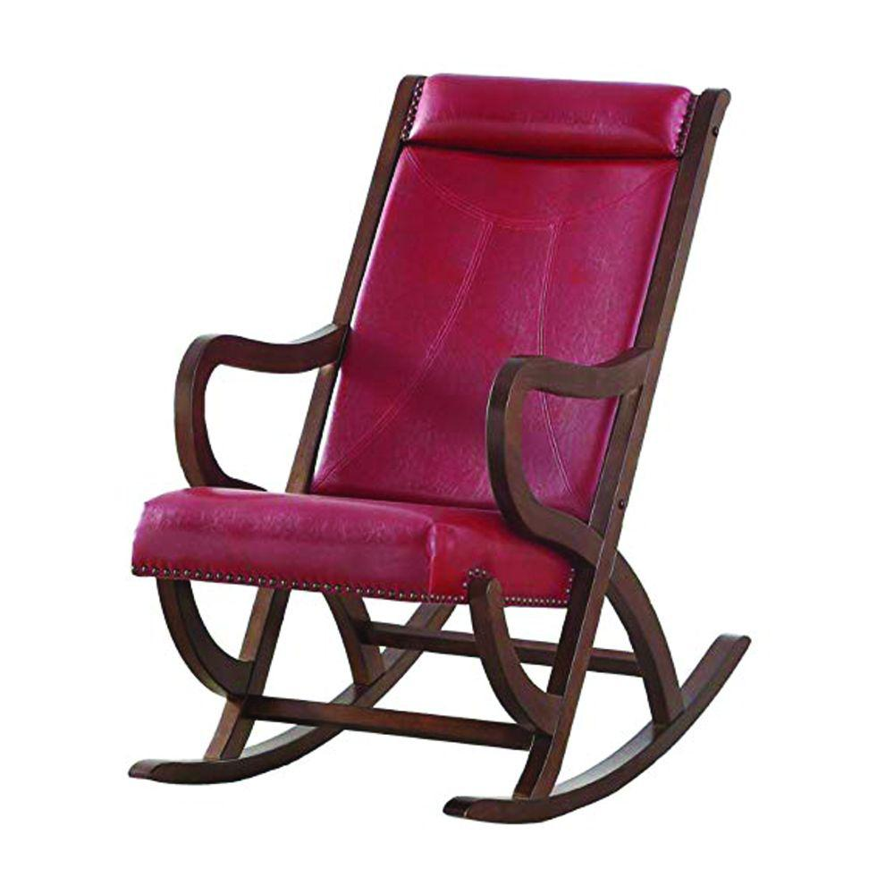 Benjara Brown Wooden Outdoor Indoor Rocking Chair With Red Cushion Looped Arms Bm193887 The Home Depot