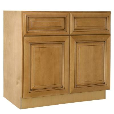 Home Decorators Collection Lewiston Assembled 33x34.5x24 In. Double Door  Base Kitchen Cabinet, 2 Drawers U0026 Rollout Tray In Toffee Glaze