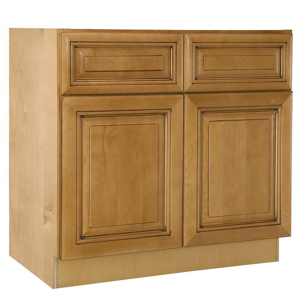33x34.5x24 in. Lewiston Assembled Sink Base Cabinet with False Drawer in
