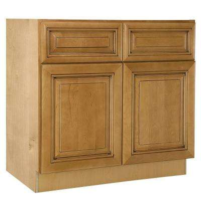 Lewiston Assembled 33x34.5x21 in. Double Door & False Drawer Front Base Vanity Sink Cabinet in Toffee Glaze