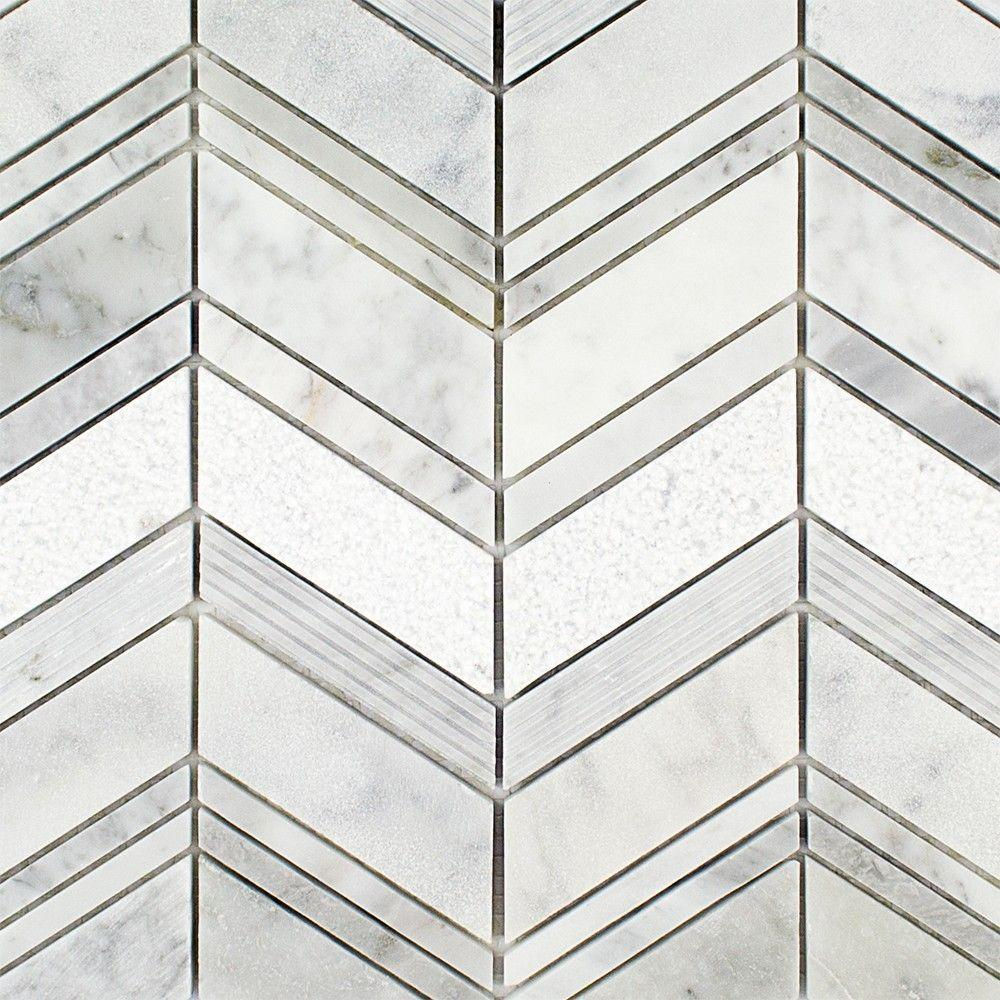 Asia Carrera Marble ivy hill tile dart winged carrera marble mosaic tile - 3 in. x 6 in. tile  sample
