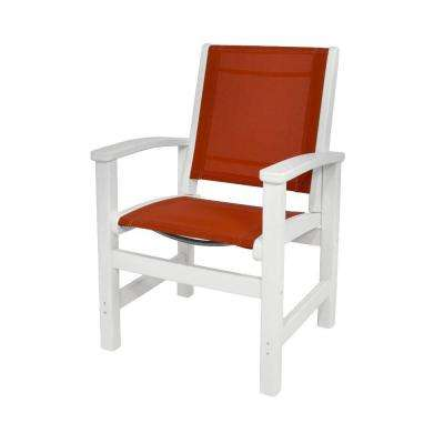 White/Salsa Sling Coastal Patio Dining Chair