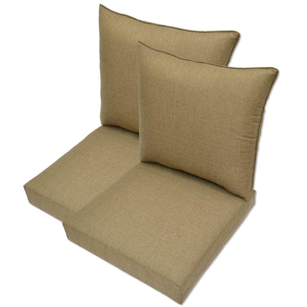 Hampton Bay Bark Textured Pillow Back Outdoor Deep Seating Cushion (2-Pack)-DISCONTINUED