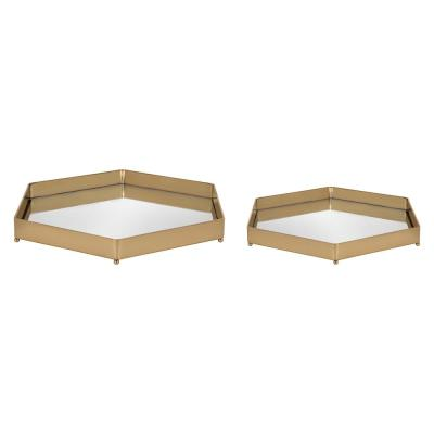 Joelyn 12 in. x 12 in. x 2 in. Gold Decorative Wall Shelf