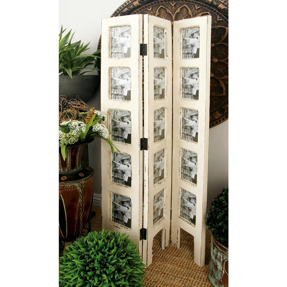 Litton Lane 27 In X 51 In Distressed Ivory 3 Panel Wood Screen