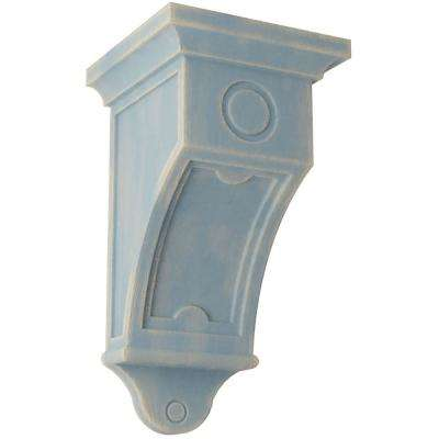 7-1/2 in. x 14 in. x 7-1/2 in. Driftwood Blue Arts and Crafts Wood Vintage Decor Corbel