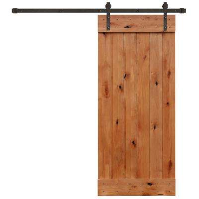 36 in. x 84 in. Rustic Unfinished 1 Panel Knotty Alder Barn Door Kit with Oil Rubbed Bronze Sliding Door Hardware Kit